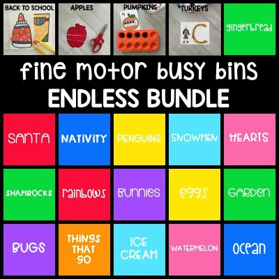 20+ printable themed fine motor busy bins in the ENDLESS bundle is perfect to use as welcome morning work tubs in pre-k and with younger preschoolers!
