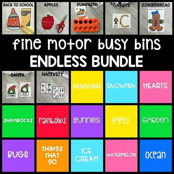20+ printable holiday & themed fine motor busy bins in the ENDLESS growing bundle is perfect to use as welcome morning work tubs in pre-k & preschool!