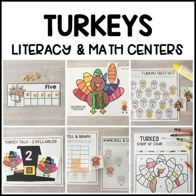 Terrific TURKEY literacy & math centers for preschool, pre-k, and kindergarten to practice writing, alphabet, number, fine motor skills and more!