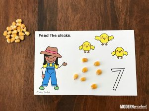 Feed the Chicks on the Farm Counting Mats