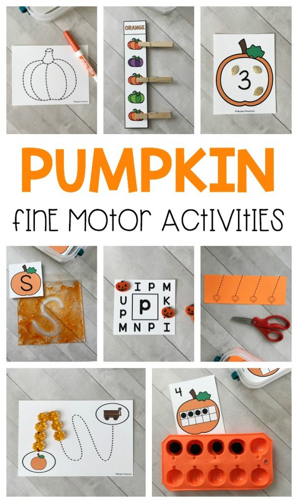 12 printable Pumpkins Fine Motor Busy Bins are perfect to intentionally add fine motor practice into your day in preschool, pre-k, & kindergarten this fall!