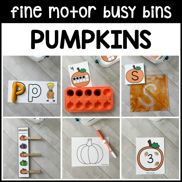 The Pumpkins Fine Motor Busy Bins are the way to intentionally add fine motor practice into your day in preschool, pre-k, and kindergarten this fall!