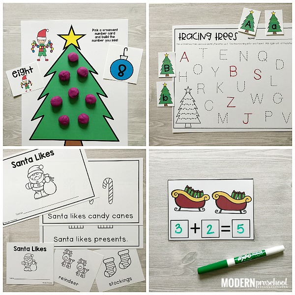 Countdown to Christmas with these AWESOME printable Santa Literacy & Math Centers for preschool, pre-k, kindergarten that are low prep and engaging!
