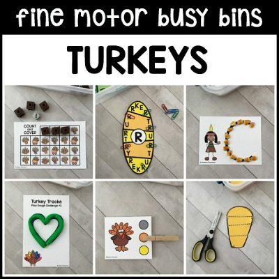 12 turkeys FINE MOTOR busy bins include engaging printable Thanksgiving themed activities to add fine motor work to your preschool, pre-k, kindergarten day!