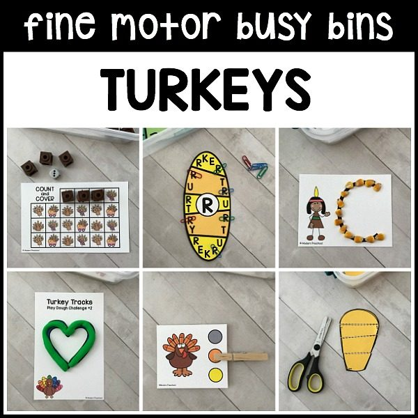 12 turkeys FINE MOTOR busy bins include engaging printable Thanksgiving themed activities to add fine motor work to your preschool, pre-k, kindergarten day!