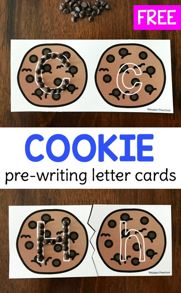 FREE printable cookie alphabet pre-writing cards to practice uppercase & lowercase letter formation and fine motor skills in preschool, pre-k, kindergarten.