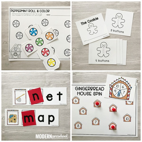 Printable GINGERBREAD literacy & math centers to go along with the Christmas theme in your preschool, pre-k, kindergarten classroom this winter!