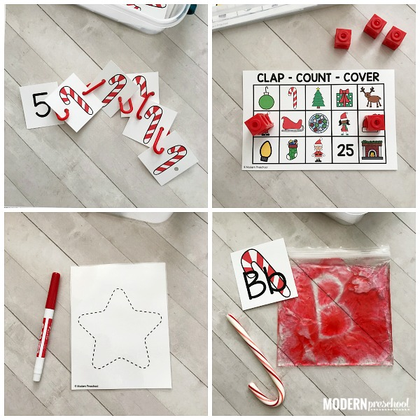 12 Christmas themed Santa FINE MOTOR busy bins to use as morning welcome work and independent learning centers in preschool, pre-k, kindergarten!