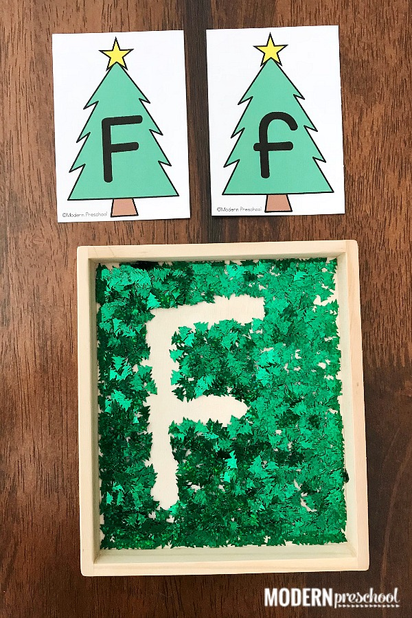 FREE printable uppercase & lowercase Christmas tree alphabet writing tray for preschool & pre-k to practice letter formation and fine motor skills!