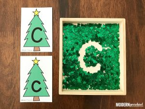 Christmas Tree Alphabet Writing Tray for Preschool