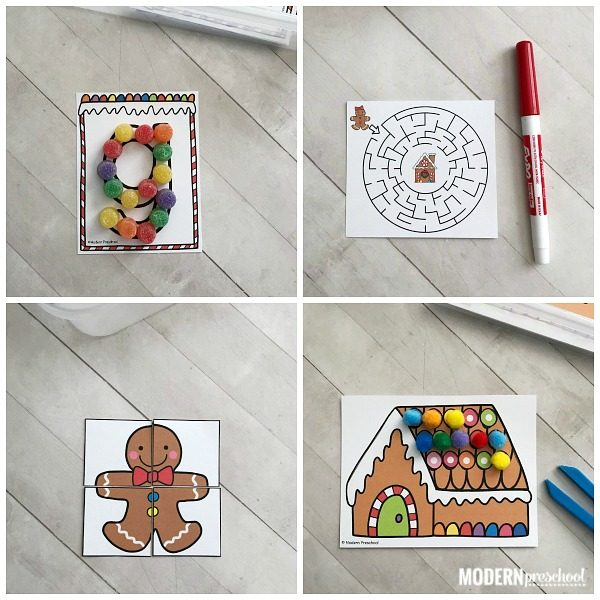 12 motivating alphabet & math GINGERBREAD fine motor busy bins to use with your Christmas theme during December in preschool, pre-k, kindergarten!