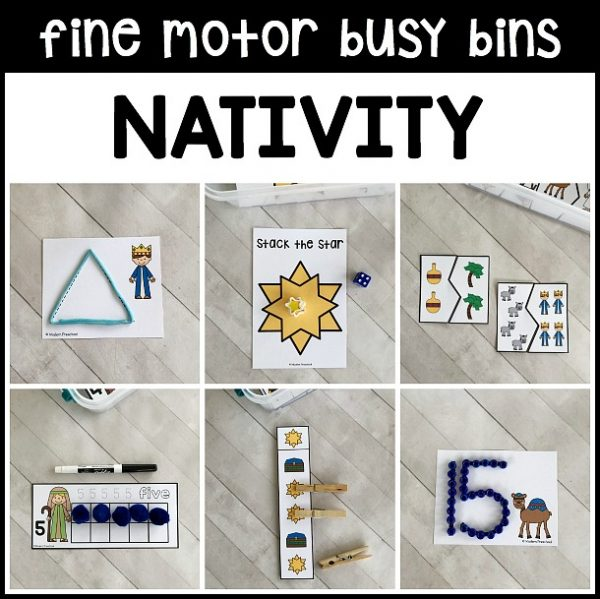 Includes 12 super motivating NATIVITY fine motor busy bins for Christmas when teaching about Baby Jesus, Mary, and Joseph in preschool, pre-k & kinder.