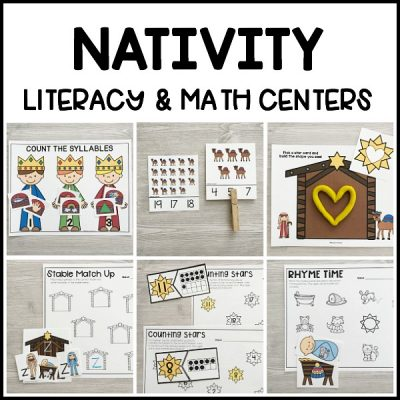 Low prep, printable NATIVITY literacy & math centers for Christmas for preschool, pre-k, kindergarten to teach about the story of baby Jesus, Mary & Joseph!