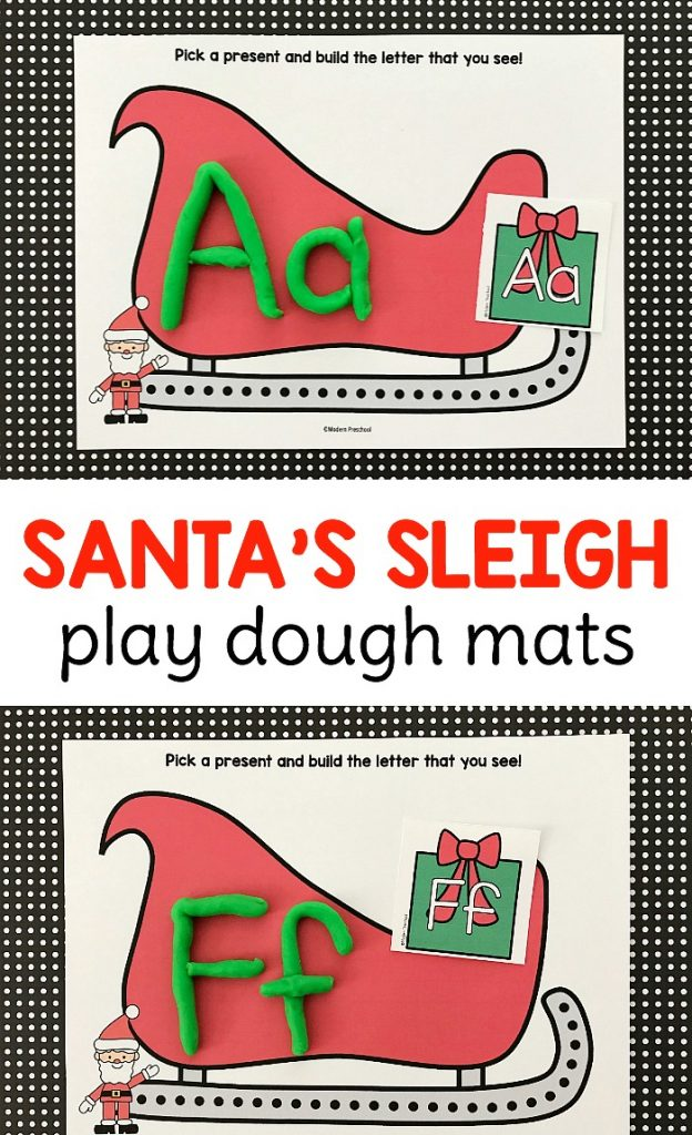 FREE Christmas themed printable Santa's sleigh alphabet play dough mats to practice uppercase & lowercase letter formation in preschool & kindergarten!