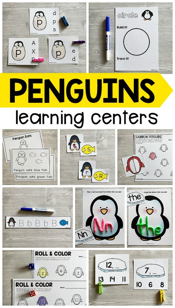 Must-have low prep, printable PENGUINS Literacy & Math Centers with easy to follow directions for preschool, pre-k, and kindergarten with differentiated options to use during the winter theme!