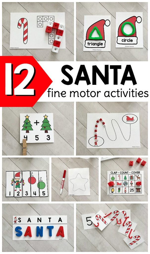 Low prep printable SANTA fine motor busy bins to use in preschool, pre-k, kindergarten to intentionally add small muscle work to your schedule!