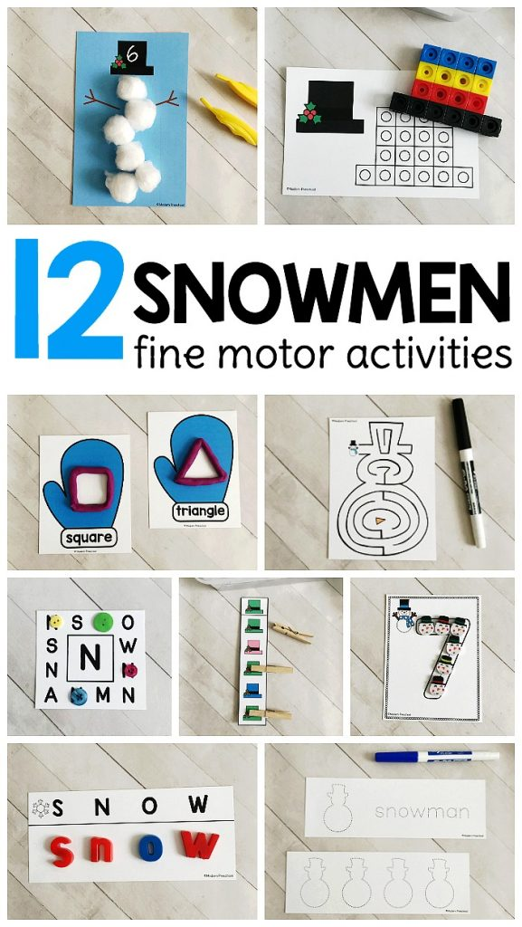 Our 12 SNOWMEN Fine Motor Busy Bins for winter include 12 motivating printable activities to motivate learning and fine motor skills in preschool, pre-k, kinder!