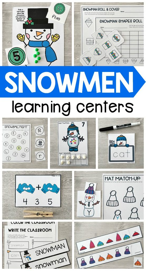 A complete set of super low prep, printable SNOWMEN Literacy & Math Centers for preschool, pre-k, kindergarten that include easy to follow directions, alphabet, numbers, pre-writing, word building skills, and more for your winter theme!