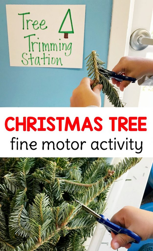 This EXTREMELY fun Christmas tree trimming fine motor sensory bin is the perfect no prep activity for preschoolers to practice scissor skills!