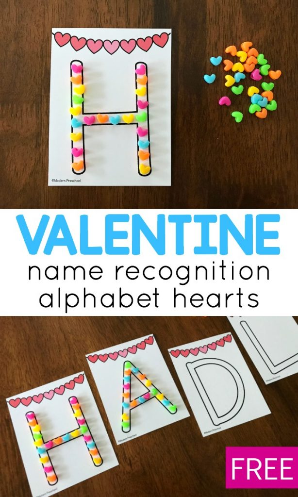 FREE name recognition alphabet hearts printable busy bag for Valentine's Day in preschool to practice uppercase letters in names, letter recognition, and fine motor skills. Perfect idea for welcome work or in a literacy learning center.
