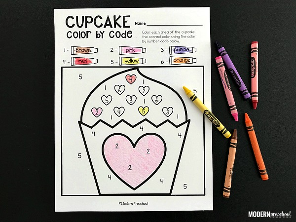 FREE Valentine's Day Color By Number printables to practice numbers, colors, pencil grip, & fine motor skills in preschool, pre-k, and kindergarten!