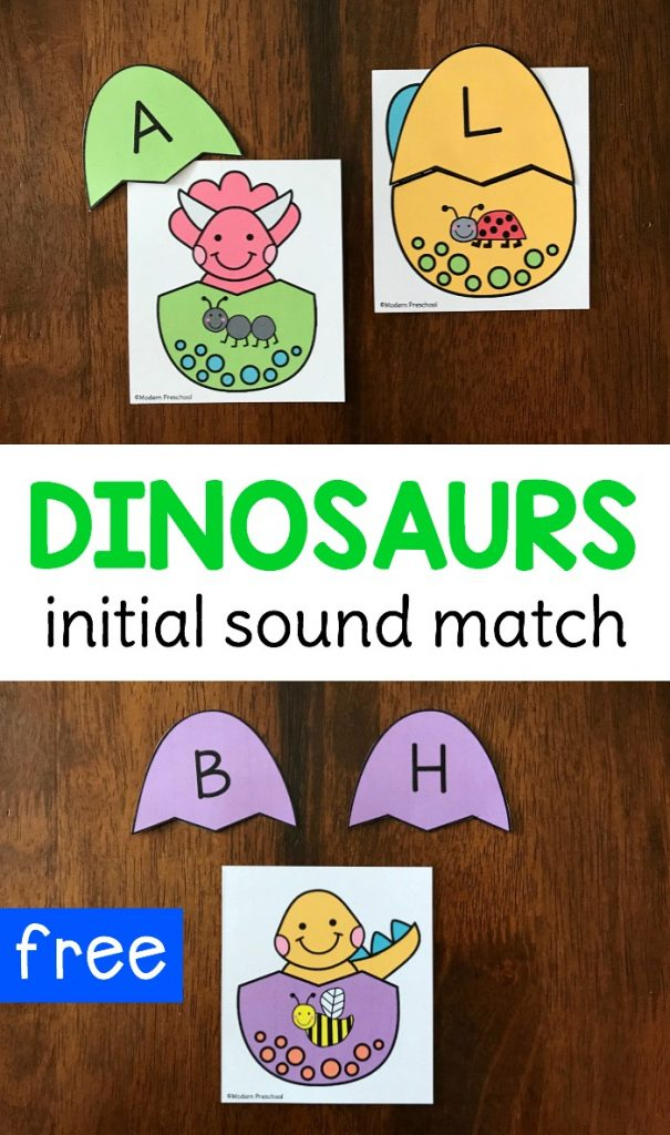 FREE printable hatching dinosaur eggs initial sound match for preschoolers and kindergarteners to use during a dinosaur theme in a literacy center. Use at home as a reusable busy bag. Focus on letter sounds and beginning sounds in simple to identify pictures!