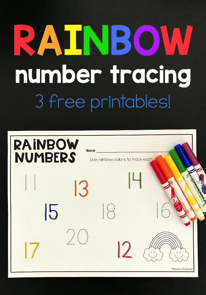 Rainbow Tracing Numbers Printable 1-20