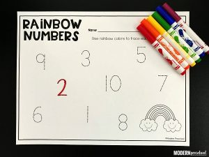 Rainbow Tracing Numbers Printable 1-20