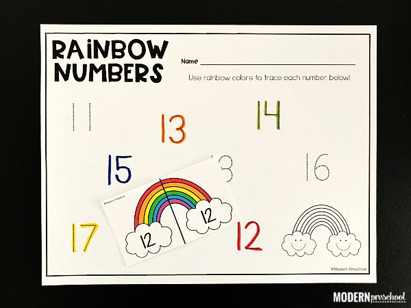 FREE rainbow tracing numbers printable math activity to use in preschool, pre-k, kindergarten to teach correct number formation, fine motor skills, number recognition, writing skills during themed learning for spring or St. Patrick's Day. Bulk up your math centers with this no prep activity!