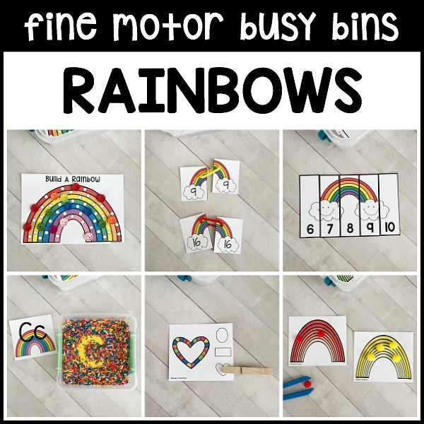 12 printable & motivational RAINBOWS fine motor busy bins for spring and St. Patricks Day to use in your preschool, pre-k, and kindergarten classroom to intentionally add fine motor work to your daily schedule. Use as morning welcome work as they are designed to be independent activities in the classroom!