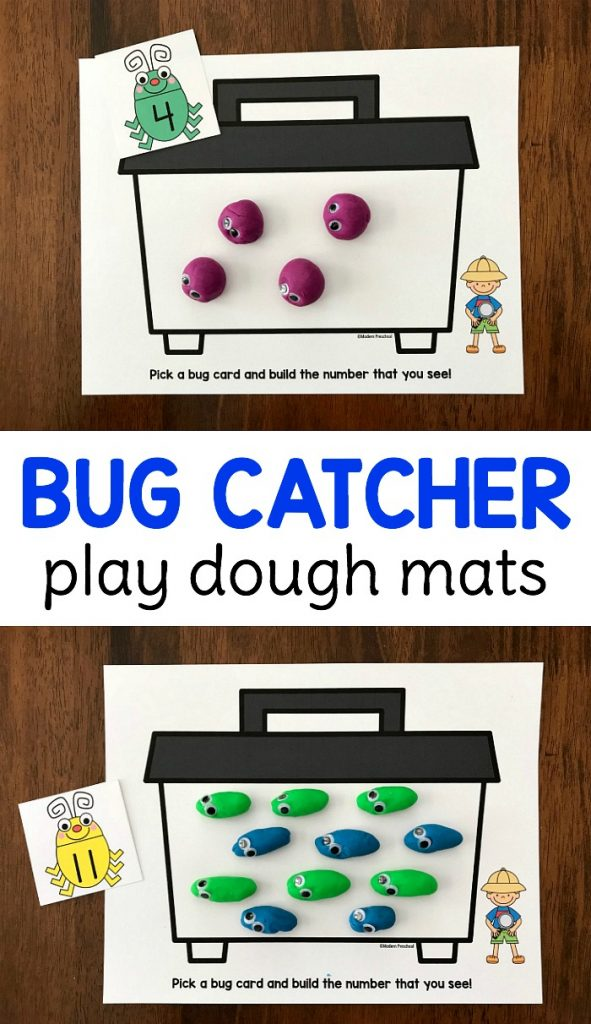 FREE printable bug catcher counting & number play dough mats for preschool and pre-k kids to practice number identification, number words, counting 1-20, 1:1 correspondence, and fine motor skills while creating play dough insects! Perfect for a reusable math center or bug themed busy bag.