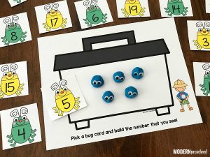 Bug Catcher Counting & Number Play Dough Mats