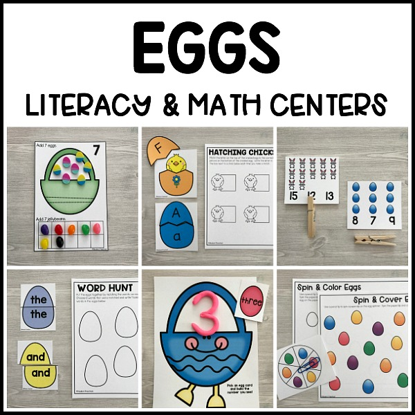 EGGS Literacy & Math Centers for Easter on math stuff to print, playdough center signs printables, math games, block center printables, math printable pages, daycare lady printables, president's day printables, math worksheets, reading printables, writing center printables, math for 12th graders, preschool center printables, school center printables, math daily 5 clip art, math sheets for 4 graders, math work, art printables, math for 1st graders, science center printables, i have who has printables,