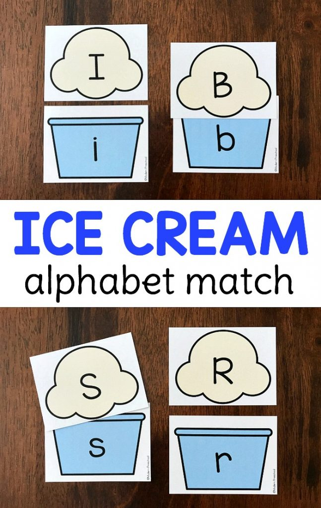 FREE ice cream alphabet match for your summer theme to practice uppercase and lowercase letters with this printable busy bag. Perfect independent literacy center or great to use during circle time as a whole group activity. Prep once and play over and over again!