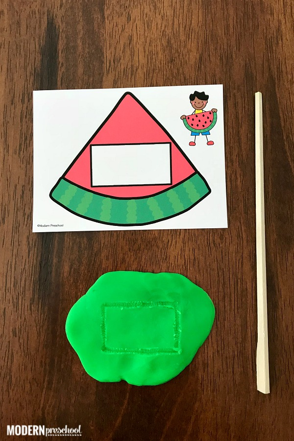 FREE printable watermelon fine motor shape cards to use in a preschool, kindergarten classroom or as a busy bag at home! The set includes 12 shapes and can be used with play dough, buttons, beads, pom poms to build the shapes and practice fine motor skills.