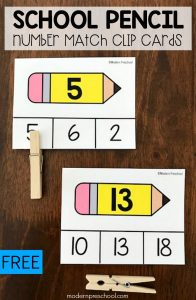School Pencil Number Matching Clip Cards 1-20