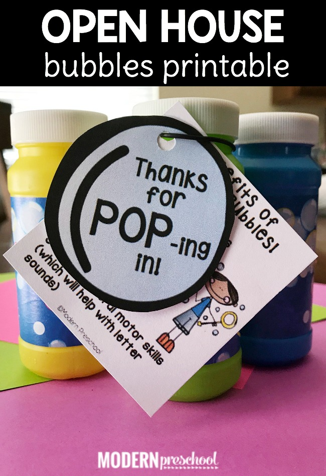 FREE open house bubbles printable for preschool, pre-k, kindergarten teachers to give to students and parents to show benefits of bubbles!