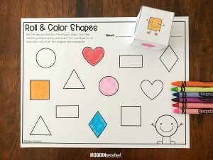 Shape Roll & Color Math Activity