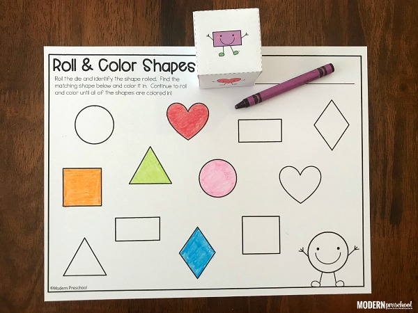 FREE printable shape roll & color math activity for preschool and pre-k to use during small group time and shape recognition!