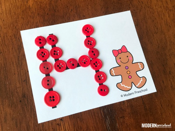 FREE printable gingerbread fine motor number cards 1-20 to practice number recognition & formation during December with preschoolers!