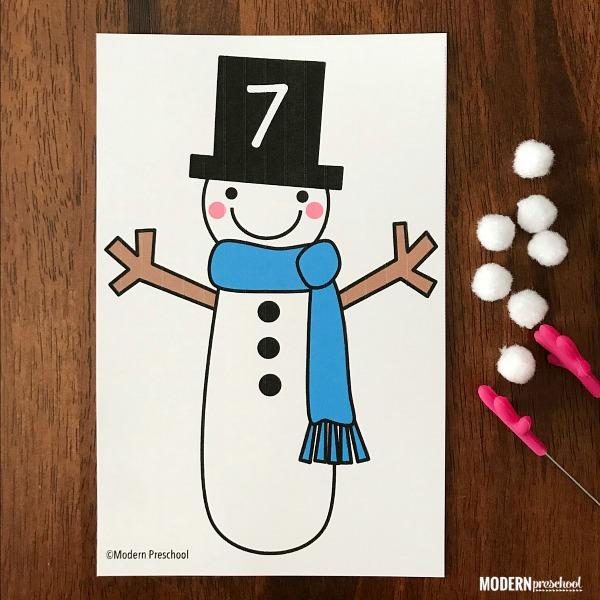 FREE printable snowman number counting cards for preschoolers to use during a winter theme to practice numbers recognition & fine motor skills!