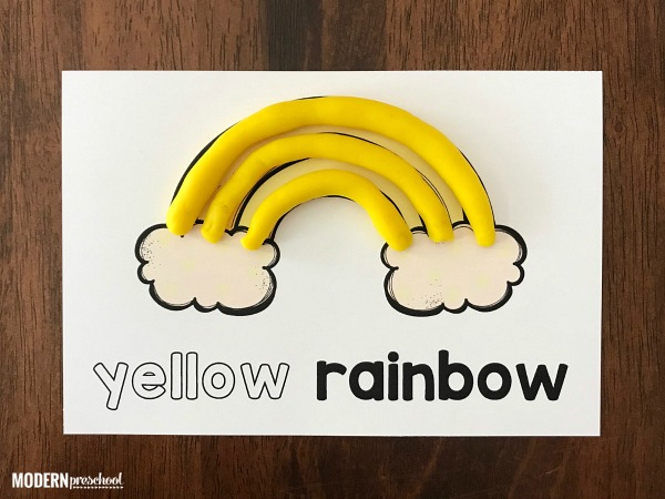 FREE printable rainbow color play dough mats to practice color words, recognition, and fine motor skills in preschool during spring & St. Patrick's Day!