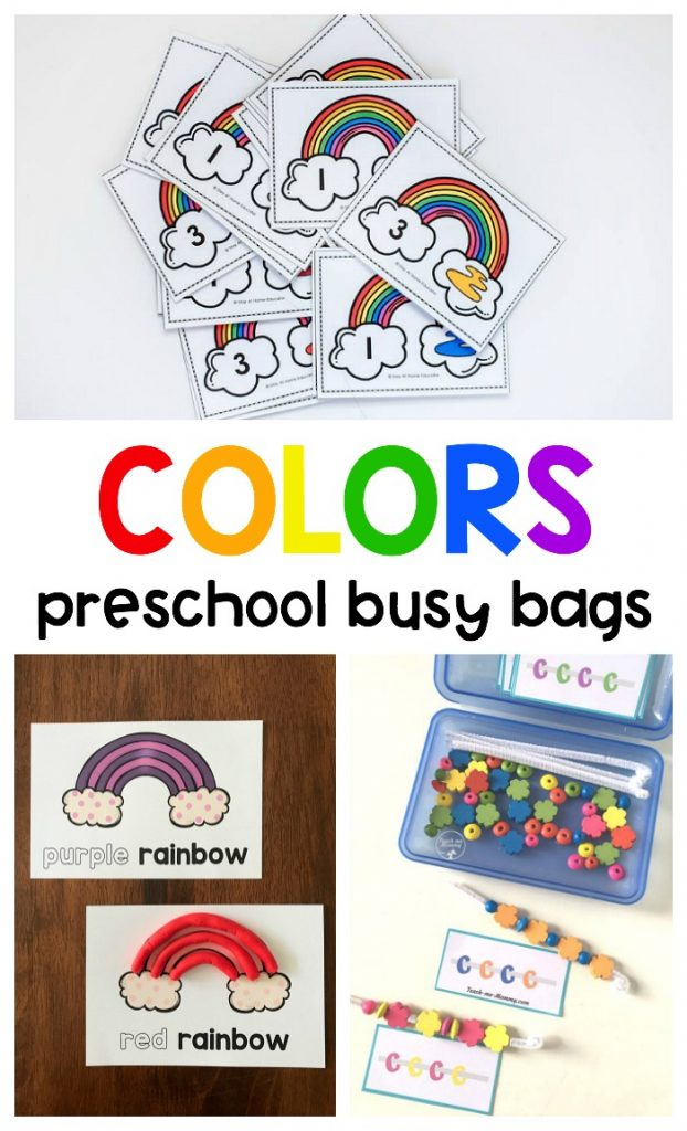 FREE printable color busy bags to practice counting, colors, and patterns using fine motor skills in preschool during spring & St. Patrick's Day!