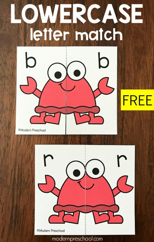 FREE printable lowercase letter crab match to work on alphabet recognition in preschool, pre-k as a reusable busy bag or literacy center!