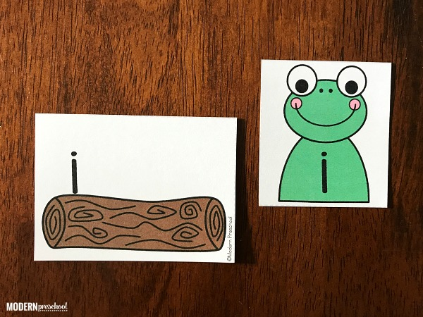 FREE printable frog on a log lowercase letter match to practice alphabet recognition while focusing on the little letters in preschool & kindergarten!