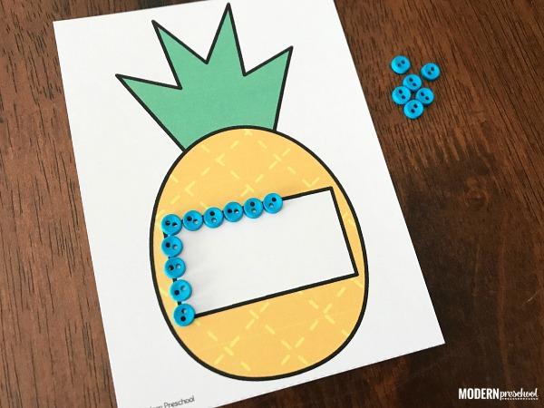 FREE printable pineapple fine motor shape cards to use with preschool and pre-k kids to practice identification and shape formation!