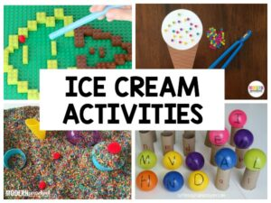 So many hands-on and engaging ice cream activities for preschool, pre-k, and homeschool preschool to use during a summer theme!