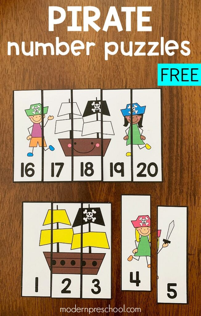 photograph relating to Pirates Printable Schedule identify Printable Pirate Amount Puzzles for Preschoolers