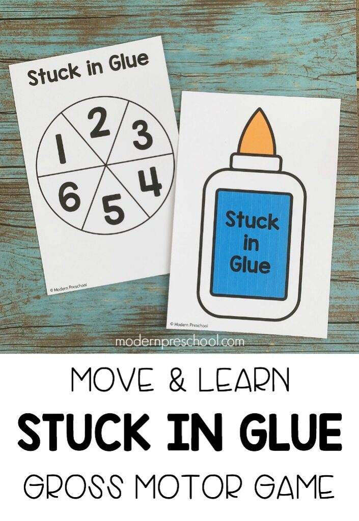FREE printable silly, fun stuck in glue gross motor move & learn activity for preschool, pre-k, & kinders to help all learning styles and levels succeed!