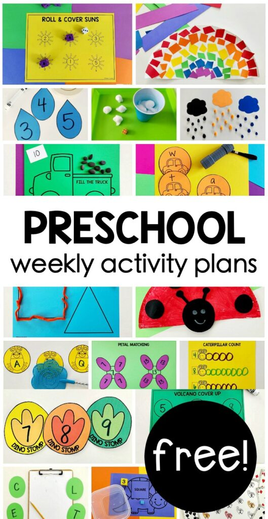 FREE weekly themed Preschool on the Go activity plans for hands-on playing & learning using simple supplies at home for parents & homeschool!